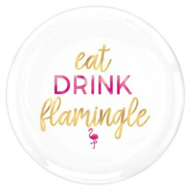 Eat Drink Flamingle Round Plastic Platter - The Base Warehouse