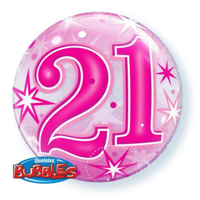 21 Pink Starburst Sparkle Bubble Balloon - 56cm - The Base Warehouse