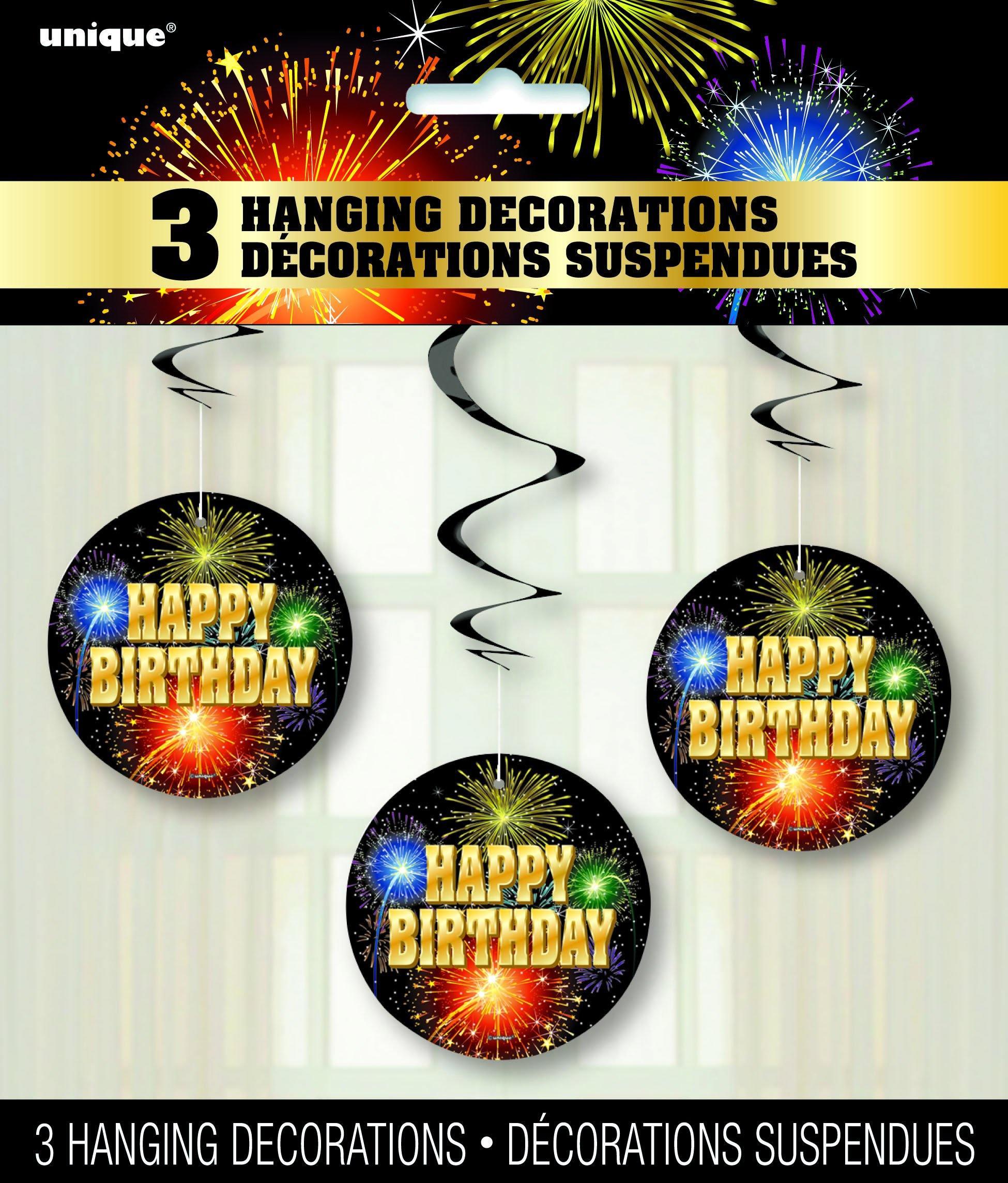 3 Pack Happy Birthday Burst Hanging Swirl Decorations - 90cm