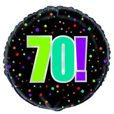 70th Birthday Cheer Round Foil Balloon - 45cm - The Base Warehouse