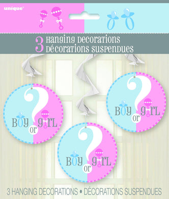 3 Pack Baby Reveal Boy or Girl? Hanging Swirl Decorations - 90cm - The Base Warehouse