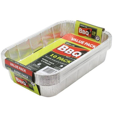 10 Pack Foil Tray - 30.5cm x 21cm x 5cm - The Base Warehouse