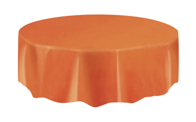 Pumpkin Orange Plastic Round Tablecover - 213cm - The Base Warehouse