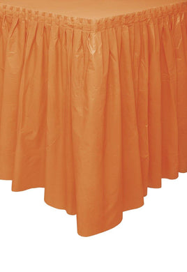 Pumpkin Orange Plastic Tableskirt - 73cm x 4.3m - The Base Warehouse