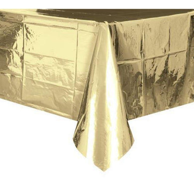Metallic Gold Plastic Rectangle Tablecover - 137cm x 274cm - The Base Warehouse