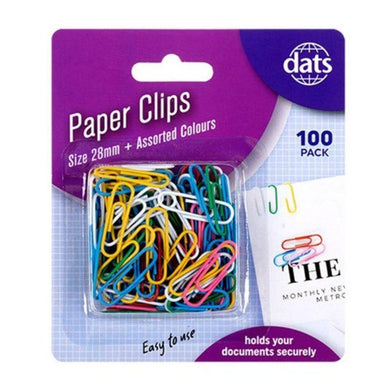 100 Pack Mixed Colour Paper Clips - 28mm - The Base Warehouse