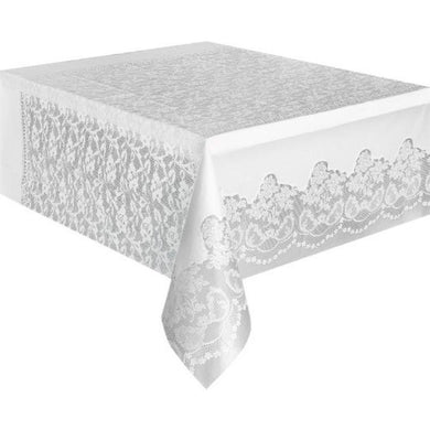 White Laced Plastic Rectangle Tablecover - 137cm x 274cm - The Base Warehouse