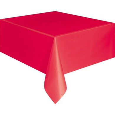 Unique Ruby Red Rectangle Plastic Tablecover - 137cm x 274cm - The Base Warehouse