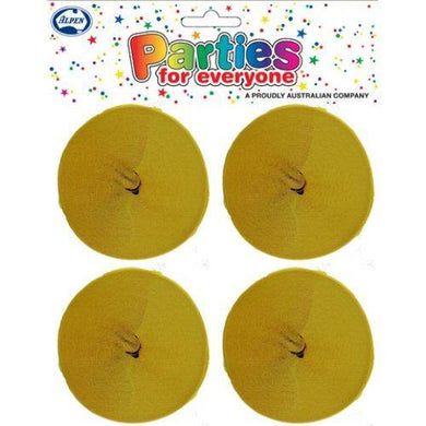 4 Pack Honey Yellow Crepe Streamers - 3.5cm x 13m - The Base Warehouse