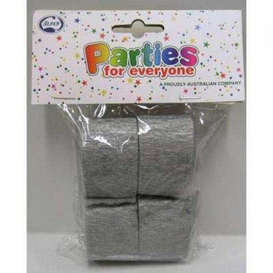 4 Pack Shimmer Silver Crepe Streamers - 3.5cm x 13m - The Base Warehouse