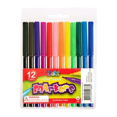 12 Pack Fine Tip Colour Markers - The Base Warehouse