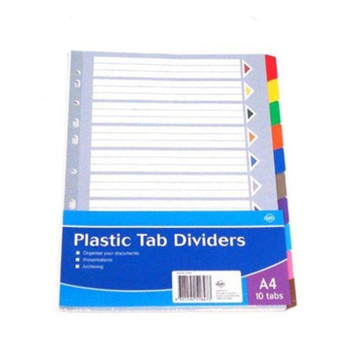 10 Tab Plastic A4 Dividers - The Base Warehouse