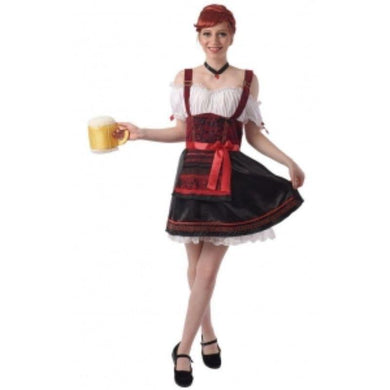 Womens Beer Girl Costume with Red Sash and Dress Choker - The Base Warehouse