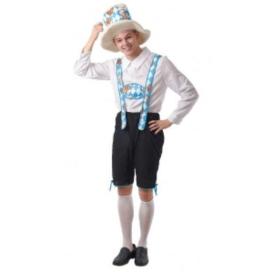 Mens Pretzel Beerman Costume with Hat, Shirt, Suspender & Pants - The Base Warehouse