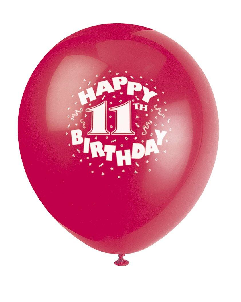 6 Pack Assorted Colours Happy 11th Birthday Latex Balloons - 30cm