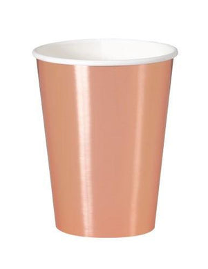 8 Pack Rose Gold Foil Paper Cups - 355ml - The Base Warehouse