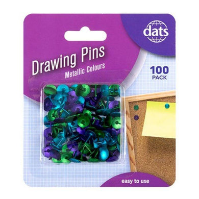 100 Pack Mixed Metallic Drawing Pins - The Base Warehouse