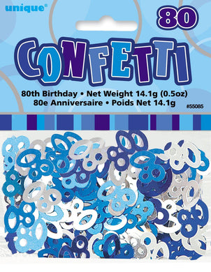 Glitz Blue 80th Birthday Confetti - 14g - The Base Warehouse