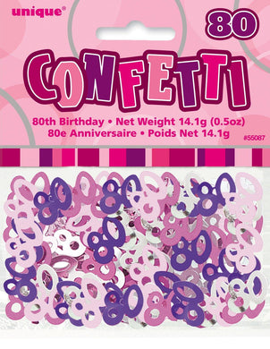 Glitz Pink 80th Birthday Confetti - 14g - The Base Warehouse