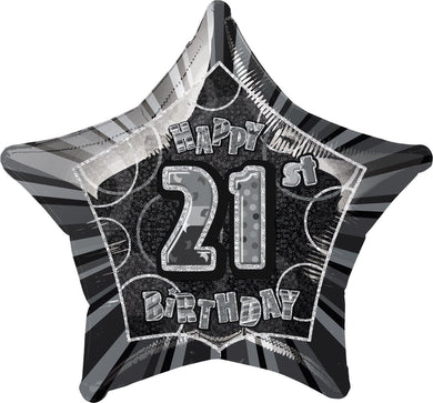 Glitz Black & Silver Happy 21st Birthday Star Foil Balloon - 50cm - The Base Warehouse