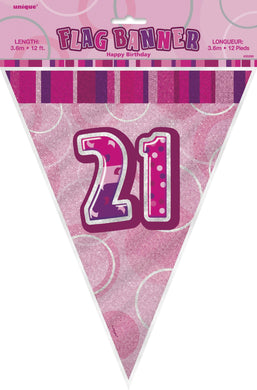 Glitz Pink Numeral 21 Flag Banner - 3.65m - The Base Warehouse