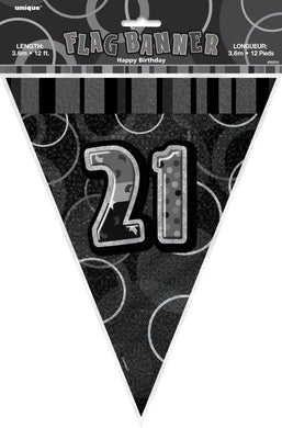 Glitz Black & Silver Numeral 21 Flag Banner - 3.65m - The Base Warehouse