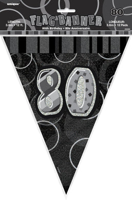 Glitz Black & Silver Numeral 80 Flag Banner - 3.65m - The Base Warehouse