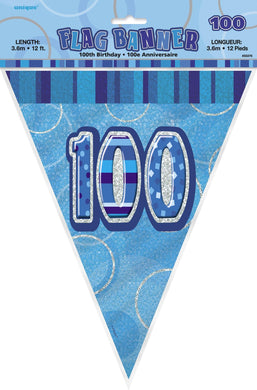 Glitz Blue Numeral 100 Flag Banner - 3.65m - The Base Warehouse