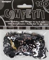 Glitz Black 100th Birthday Confetti - 14g - The Base Warehouse
