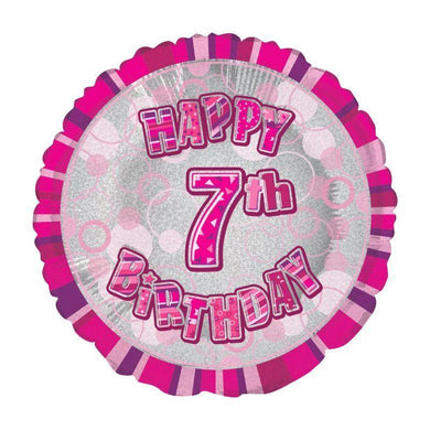 Glitz Pink Happy 7th Birthday Round Foil Balloon - 45cm - The Base Warehouse