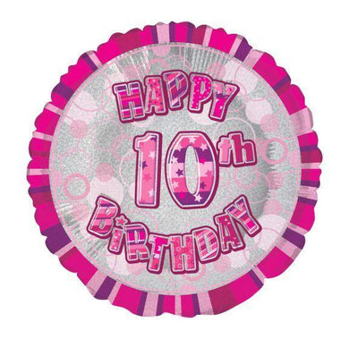 Glitz Pink Happy 10th Birthday Round Foil Balloon - 45cm - The Base Warehouse
