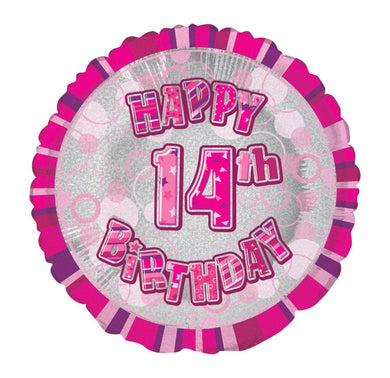 Glitz Pink Happy 14th Birthday Round Foil Balloon - 45cm - The Base Warehouse