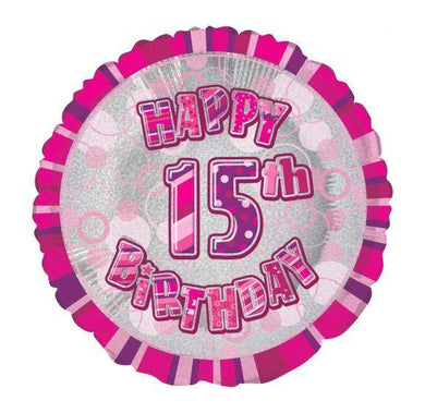Glitz Pink Happy 15th Birthday Round Foil Balloon - 45cm - The Base Warehouse