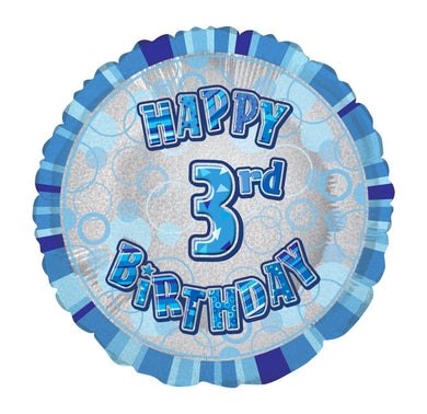 Glitz Blue Happy 3rd Birthday Round Foil Balloon - 45cm - The Base Warehouse