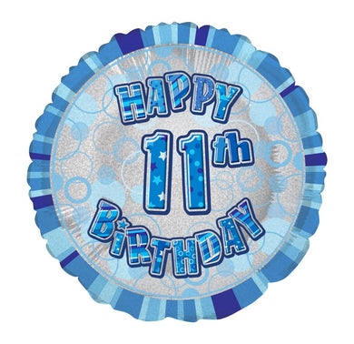 Glitz Blue Happy 11th Birthday Round Foil Balloon - 45cm - The Base Warehouse
