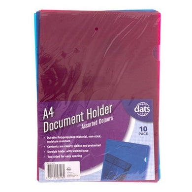 10 Pack Mixed Colour Document File Holder - A4 - The Base Warehouse