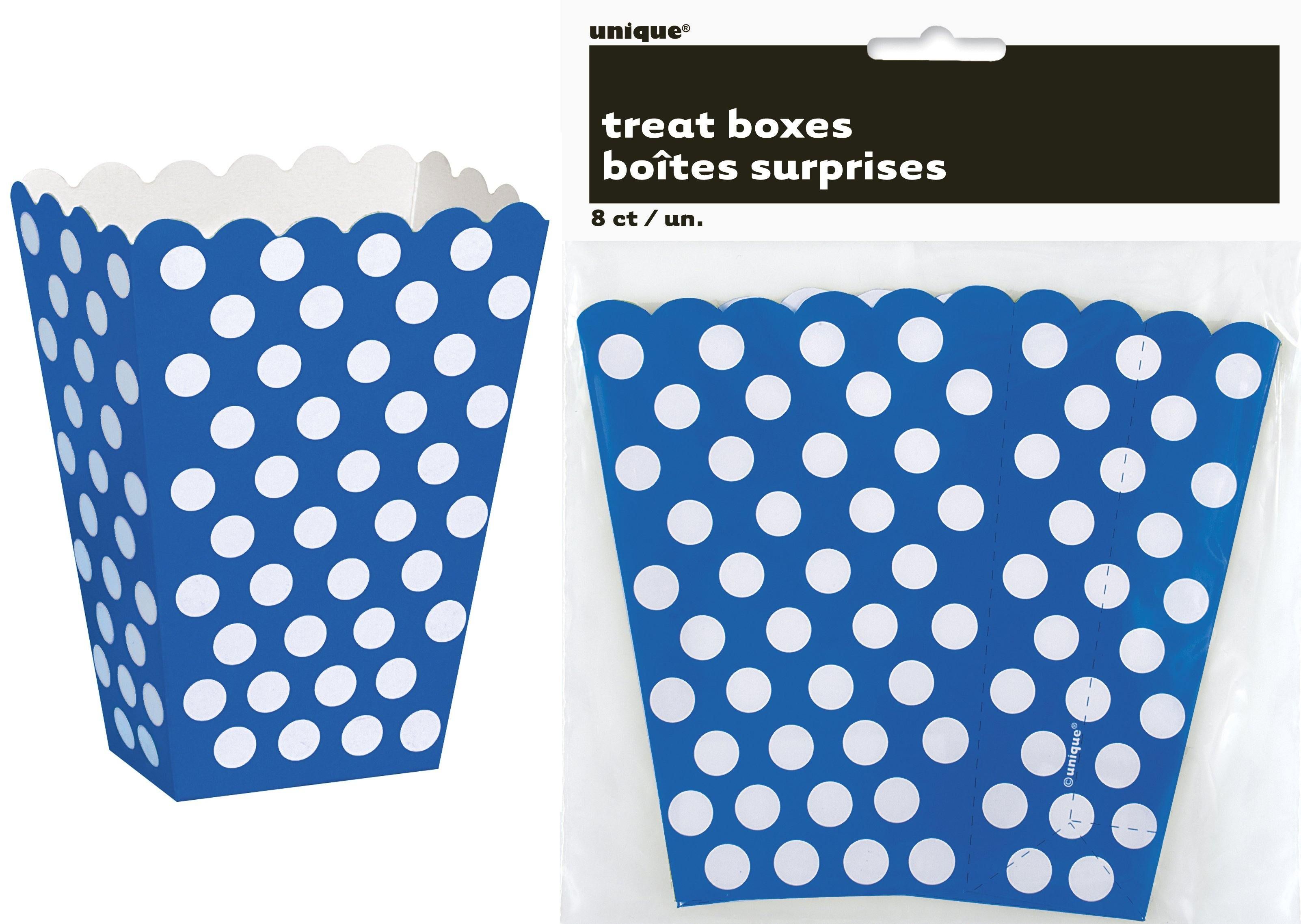 8 Pack Royal Blue Dots Treat Boxes - 14cm H x 9.5cm W