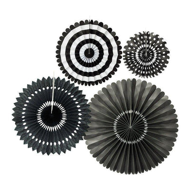 4 Pack Black Paper Fan Set - 20cm to 44cm - The Base Warehouse