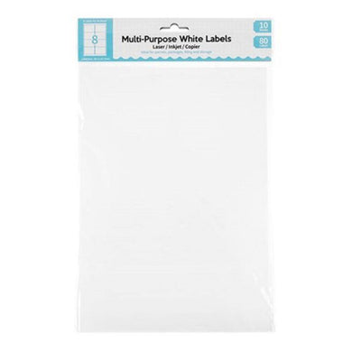 10 Sheet A4 Multi-Purpose White Labels - 8 Per Sheet - The Base Warehouse