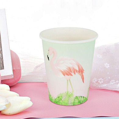 8 Pack Flamingo Paper Cups - 266ml - The Base Warehouse