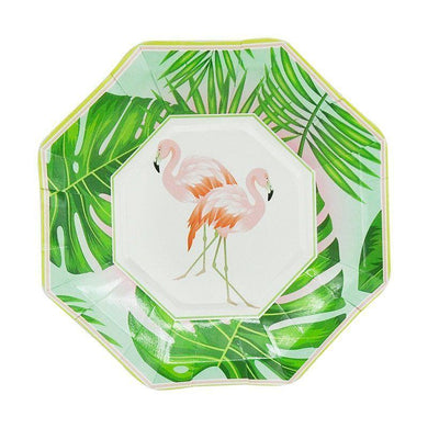 8 Pack Flamingo Paper Plates - 18cm - The Base Warehouse