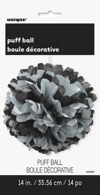 Black & Silver Puff Decoration - 36cm - The Base Warehouse