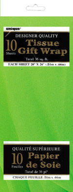 10 Pack Lime Green Tissue Sheets - 51cm x 66cm - The Base Warehouse