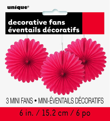 3 Pack Ruby Red Decorative Fans - 15cm - The Base Warehouse