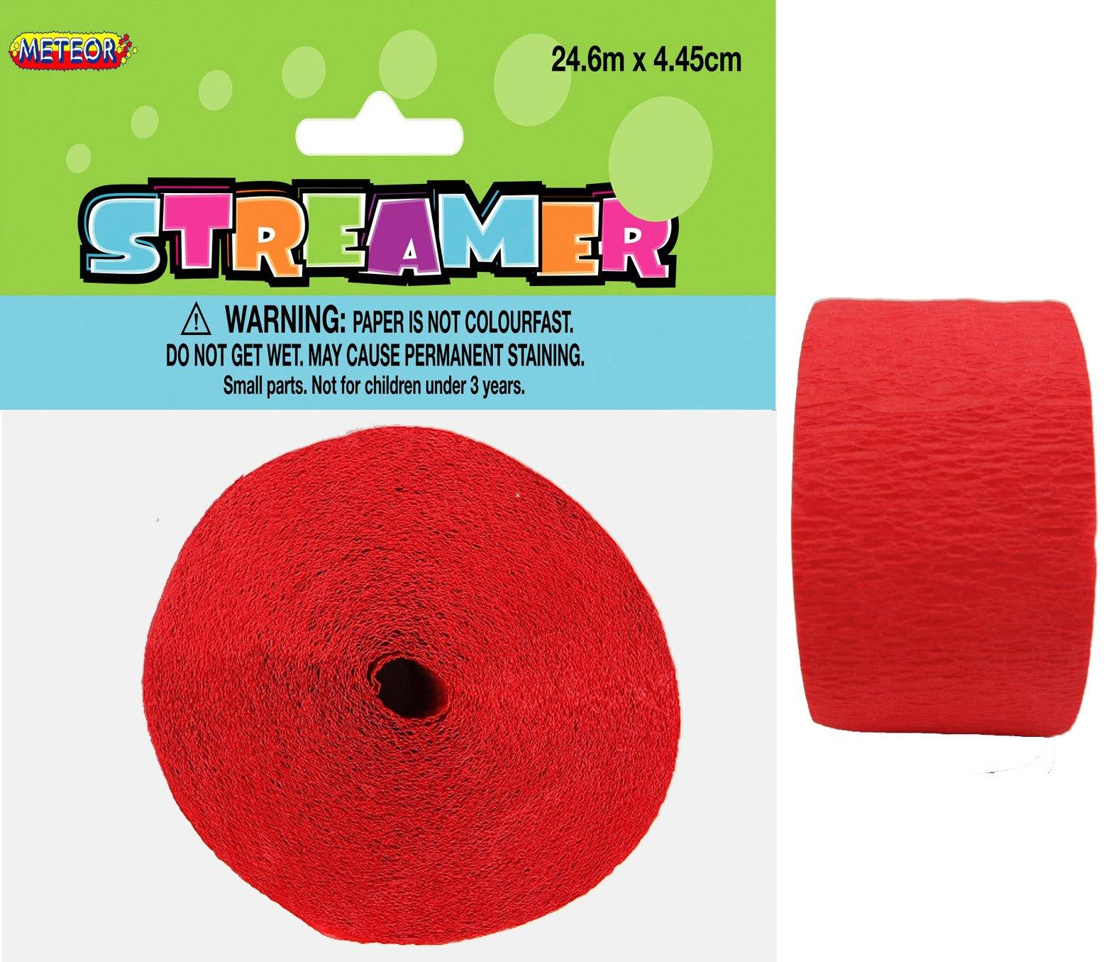 Ruby Red Crepe Streamer - 24m
