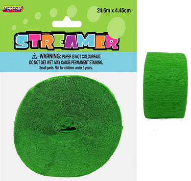 Lime Green Crepe Streamer - 24m - The Base Warehouse