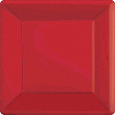 20 Pack Apple Red Square Paper Plates - 17cm - The Base Warehouse