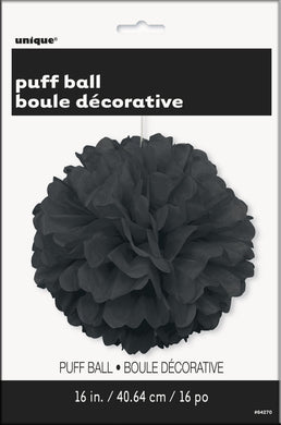 Midnight Black Puff Ball Decoration - 40cm - The Base Warehouse