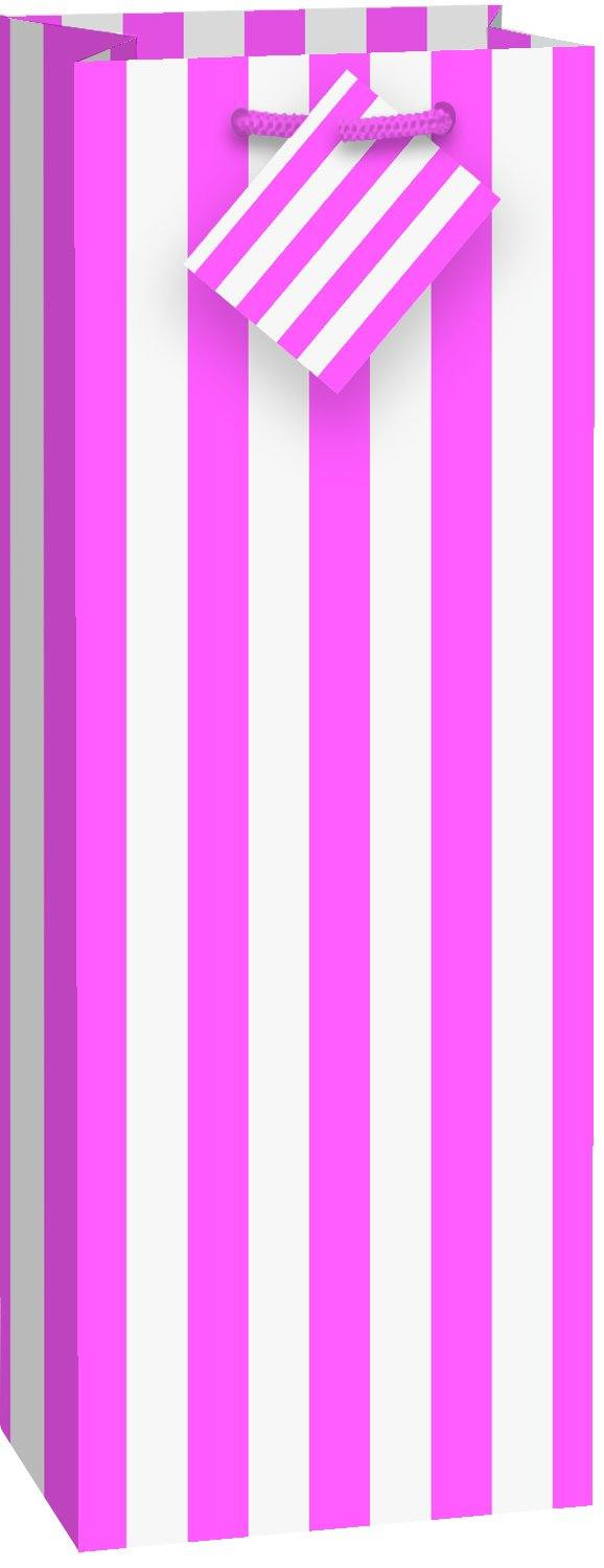 Hot Pink Stripes Wine Bag - 35.6cm H x 12.7cm W