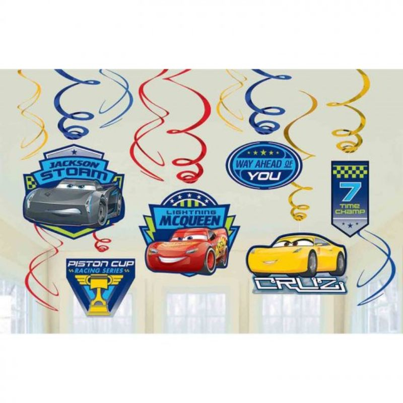 Cars 3 Foil Swirl Decorations Value Pack